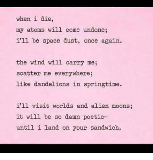 Springtime: when i die  my atoms will come undone;  i'll be space dust, once again.  the wind will carry me;  scatter me everywhere;  like dandelions in springtime.  i'll visit worlds and alien moons;  it will be so damn poetic-  until i land on your sandwich.
