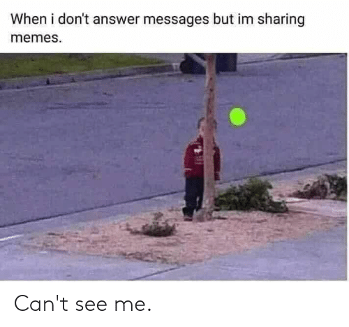 Cant See Me: When i don't answer messages but im sharing  memes. Can't see me.