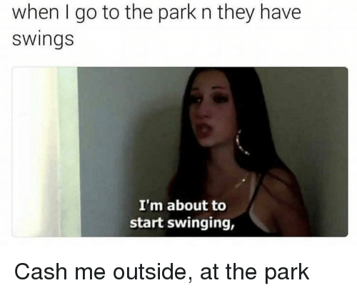 Cash Me: when I go to the park n they have  swings  I'm about to  start swinging, Cash me outside, at the park