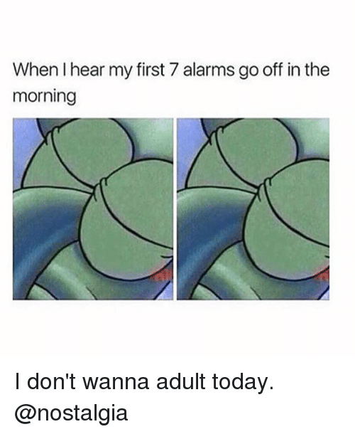 Memes, Nostalgia, and Today: When I hear my first 7 alarms go off in the  morning I don't wanna adult today. @nostalgia