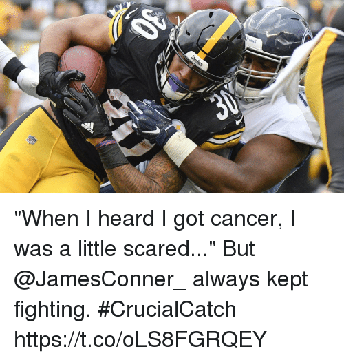 """Memes, Cancer, and 🤖: """"When I heard I got cancer, I was a little scared...""""  But @JamesConner_ always kept fighting. #CrucialCatch https://t.co/oLS8FGRQEY"""