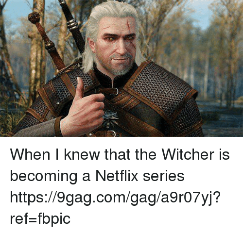 Witchers: When I knew that the Witcher is becoming a Netflix series https://9gag.com/gag/a9r07yj?ref=fbpic