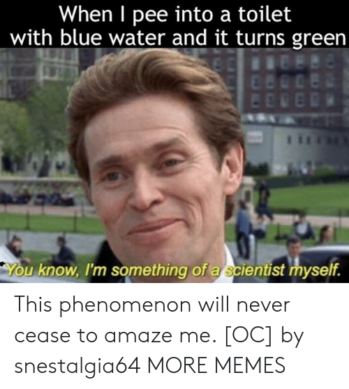 amaze: When I pee into a toilet  with blue water and it turns green  u know, I'm something of a scientist myself. This phenomenon will never cease to amaze me. [OC] by snestalgia64 MORE MEMES