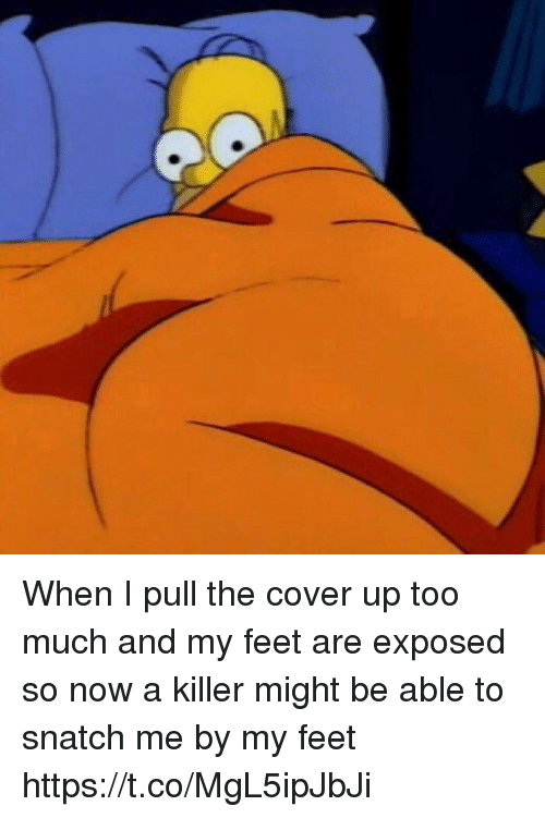 Funny, Too Much, and Feet: When I pull the cover up too much and my feet are exposed so now a killer might be able to snatch me by my feet https://t.co/MgL5ipJbJi