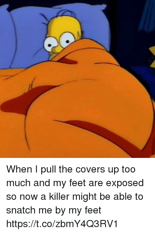 Funny, Too Much, and Covers: When I pull the covers up too much and my feet are exposed so now a killer might be able to snatch me by my feet https://t.co/zbmY4Q3RV1