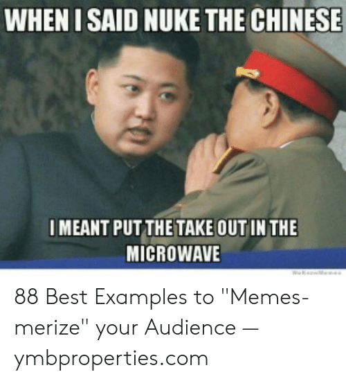 """Meme Examples: WHEN I SAID NUKE THE CHINESE  IMEANT PUT THE TAKE OUT IN THE  MICROWAVE 88 Best Examples to """"Memes-merize"""" your Audience — ymbproperties.com"""