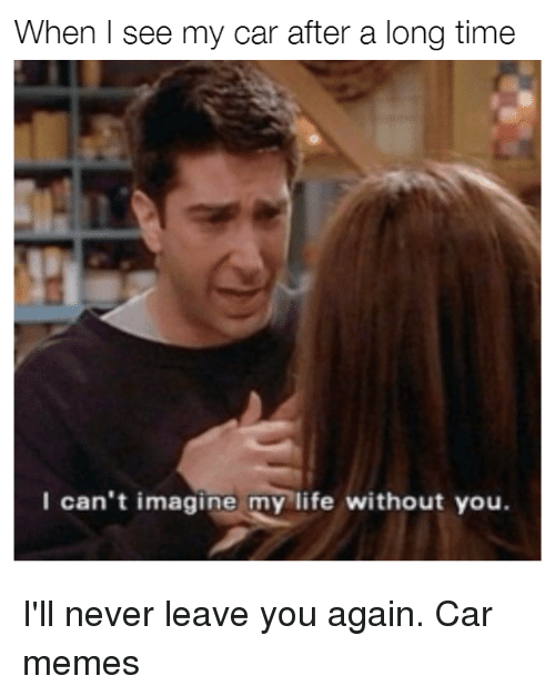 Cars, Car, and You Again: When I see my car after a long time  I can't imagine my life without you. I'll never leave you again. Car memes