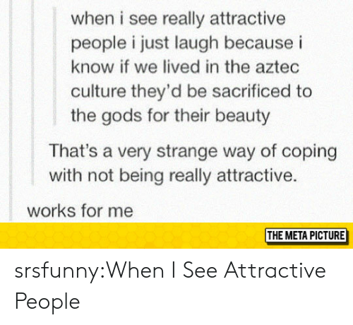 Aztec: when i see really attractive  people i just laugh because i  know if we lived in the aztec  culture they'd be sacrificed to  the gods for their beauty  That's a very strange way of coping  with not being really attractive.  works for me  THE META PICTURE srsfunny:When I See Attractive People