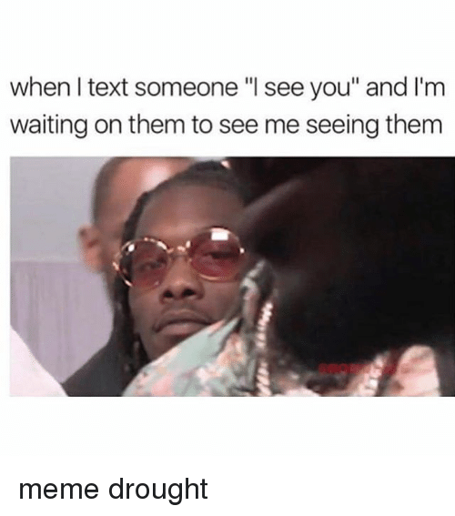 """Meme, Text, and Waiting...: when I text someone """"l see you"""" and I'm  waiting on them to see me seeing them meme drought"""