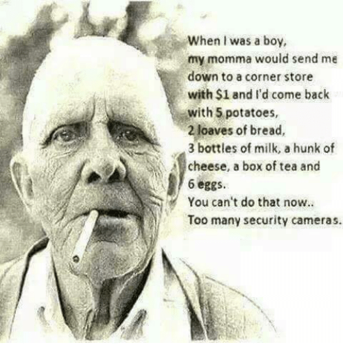 Dank, Back, and Boy: When I was a boy,  my momma would send me  down to a corner store  with $1 and I'd come back  with 5 potatoes,  2 loaves of bread,  3 bottles of milk, a hunk of  cheese, a box of tea and  6 eggs  You can't do that now.  Too many security cameras.