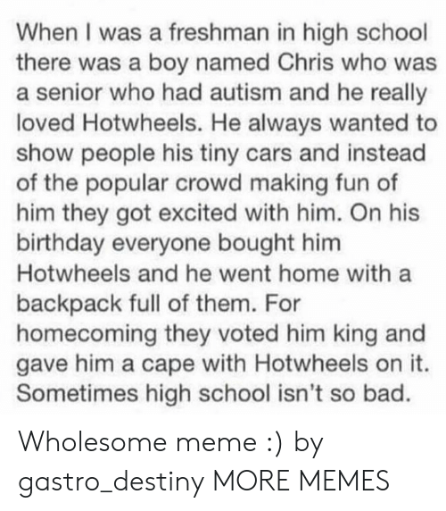 hotwheels: When I was a freshman in high school  there was a boy named Chris who was  a senior who had autism and he really  loved Hotwheels. He always wanted to  show people his tiny cars and instead  of the popular crowd making fun of  him they got excited with him. On his  birthday everyone bought him  Hotwheels and he went home with a  backpack full of them. For  homecoming they voted him king and  gave him a cape with Hotwheels on it.  Sometimes high school isn't so bad. Wholesome meme :) by gastro_destiny MORE MEMES