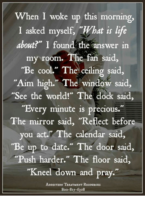 "Life, Memes, and Precious: When I woke up this morning,  I asked myself, What is life  about?"" I found the answer in  my room.  The fan said  ""Be cool."" The ceiling said,  Aim high."" The window said,  ""See the world!"" The dock said,  ""Every minute is precious.  The mirror said, ""Reflect before  you act. The calendar said,  ""Be up to date."" The door said.  ""Push harder."" The floor said,  ""Kneel down and pray.""  ADDICTION TREATMENT RESouRCEs  8oo-815-6308"