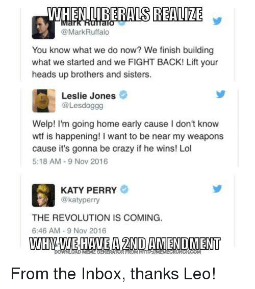 katie perry: WHEN IIBERALS REALIZE  @Mark Ruffalo  You know what we do now? We finish building  what we started and we FIGHT BACK! Lift your  heads up brothers and sisters.  Leslie Jones  @Lesdoggg  Welp! I'm going home early cause l don't know  wtf is happening! I want to be near my weapons  cause it's gonna be crazy if he wins! Lol  5:18 AM 9 Nov 2016  KATY PERRY  @katy perry  THE REVOLUTION IS COMING.  6:46 AM 9 Nov 2016  WHNAWE HAVE A 2NDAMENDMENT From the Inbox, thanks Leo!
