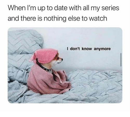 Memes, Date, and Watch: When I'm up to date with all my series  and there is nothing else to watch  I don't know anymore
