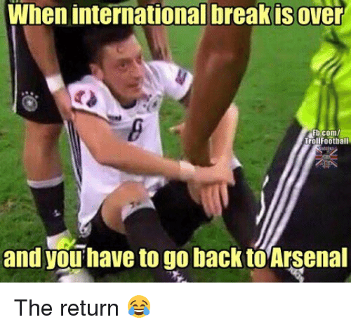 Memes, Break, and fb.com: When international break is over  Fb.com  TrollFootball  and you have to go back toArsenal The return 😂