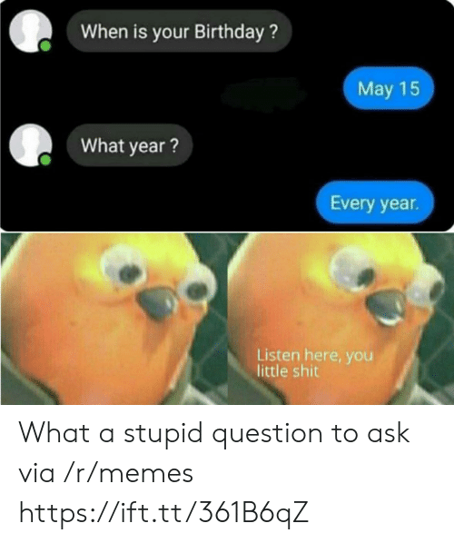 Stupid Question: When is your Birthday?  May 15  What year?  Every year  Listen here, you  little shit What a stupid question to ask via /r/memes https://ift.tt/361B6qZ