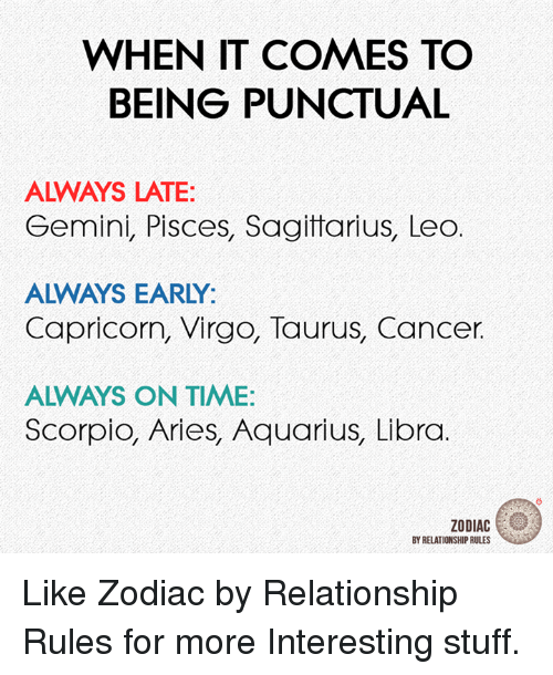 Aquarius, Aries, and Cancer: WHEN IT COMES TO  BEING PUNCTUAL  ALWAYS LATE:  Gemini, Pisces, Sagittarius, Leo  ALWAYS EARLY:  Capricorn, Virgo, Taurus, Cancer.  ALWAYS ON TIME:  Scorpio, Aries, Aquarius, Libra  ZODIAC  BY RELATIONSHIP RULES Like Zodiac by Relationship Rules for more Interesting stuff.