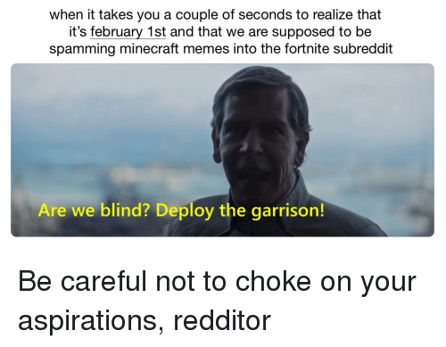 Be Careful Not To Choke On Your Aspirations: when it takes you a couple of seconds to realize that  it's february 1st and that we are supposed to be  spamming minecraft memes into the fortnite subreddit  Are we blind? Deploy the garrison!