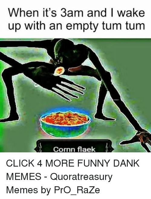 Funny Dank: When it's 3am and I wake  up with an empty tum tum  Cormn flaek CLICK 4 MORE FUNNY DANK MEMES - Quoratreasury Memes by PrO_RaZe