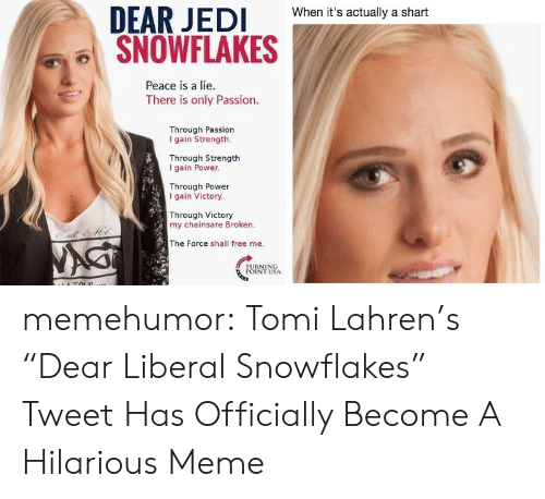 "Shart: When it's actually a shart  SNOWFLAKES  Peace is a lie.  There is only Passion.  Through Passion  I gain Strength.  Through Strength  I gain Power  Through Power  gain Victory.  Through Victory  my chainsare Broken.  The Force shall free me. memehumor:  Tomi Lahren's ""Dear Liberal Snowflakes"" Tweet Has Officially Become A Hilarious Meme"