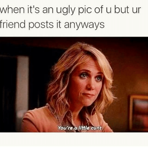 Relationships, Ugly, and Cunt: when it's an ugly pic of u but ur  friend posts it anyways  You're a little cunt