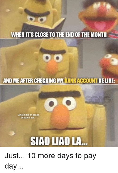 Be Like, Memes, and 🤖: WHEN IT'S CLOSE TO THE END OF THE MONTH  AND ME AFTER CHECKING MY BANKACCOUNT BE LIKE:  what kind of grass  should I eat...  SIAO LIAO LA Just... 10 more days to pay day...