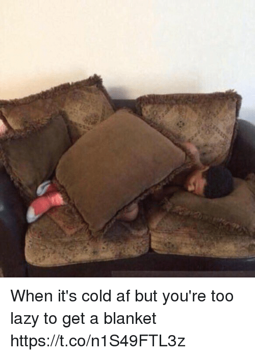Af, Funny, and Lazy: When it's cold af but you're too lazy to get a blanket https://t.co/n1S49FTL3z