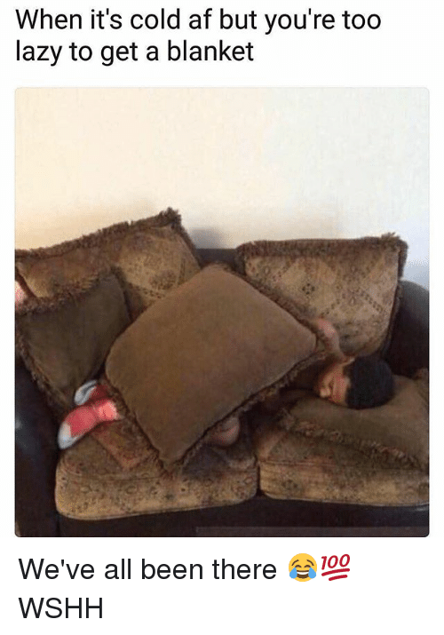 Af, Lazy, and Memes: When it's cold af but you're too  lazy to get a blanket We've all been there 😂💯 WSHH