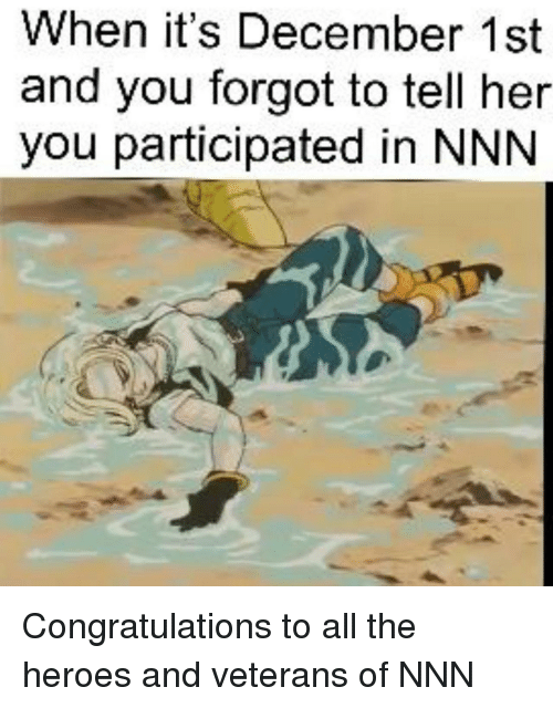 Congratulations, Heroes, and All The: When it's December 1st  and you forgot to tell her  you participated in NNN Congratulations to all the heroes and veterans of NNN