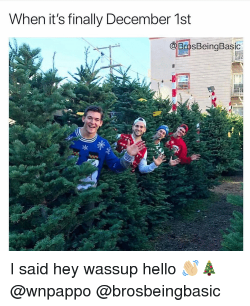 December 1St: When it's finally December 1st  BrosBeingBasic I said hey wassup hello 👋🏼🎄 @wnpappo @brosbeingbasic