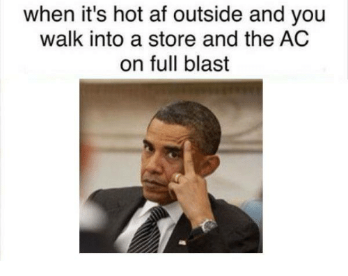 Af, Dank Memes, and Afs: when it's hot af outside and you  walk into a store and the AC  on full blast