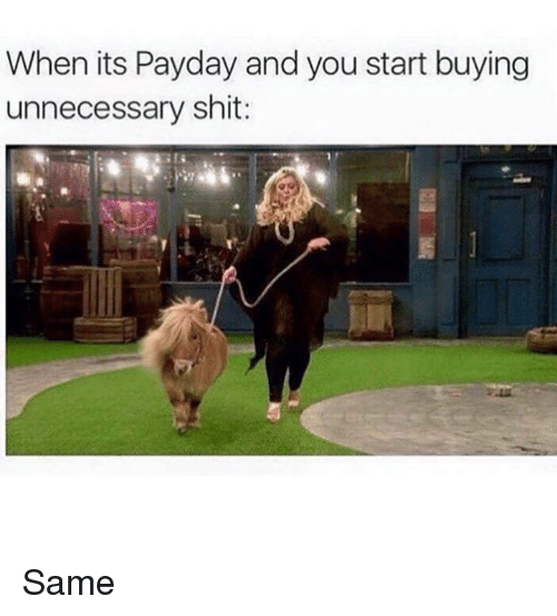 Dank, 🤖, and Payday: When its Payday and you start buying  unnecessary shit Same