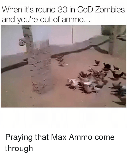 Funny, Zombies, and Cod: When it's round 30 in CoD Zombies  and you're out of ammo... Praying that Max Ammo come through