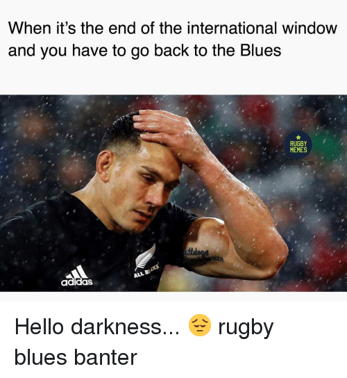 Hello Darkness: When it's the end of the international window  and you nave to go back to the Blues  RUGBY  MEMES  adidas  ALL B Hello darkness... 😔 rugby blues banter