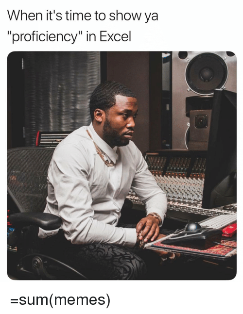 """Memes, Excel, and Time: When it's time to show ya  proficiency"""" in Excel =sum(memes)"""