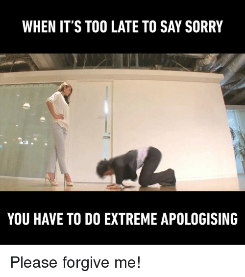 Dank, 🤖, and Too Late: WHEN IT'S TOO LATE TO SAY SORRY  YOU HAVE TO DO EXTREME APOLOGISING Please forgive me!