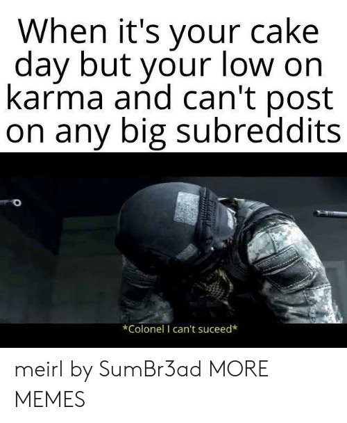 colonel: When it's your cake  dav but vour low on  karma and can't post  on any big subreddits  *Colonel I can't suceed* meirl by SumBr3ad MORE MEMES