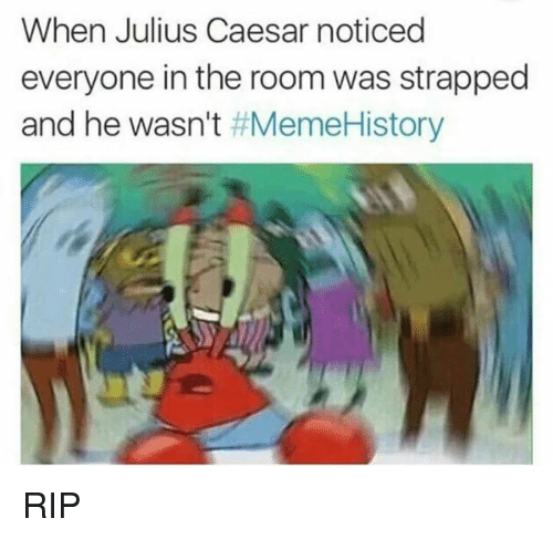 meme: When Julius Caesar noticed  everyone in the room was strapped  and he wasn't  Meme History RIP