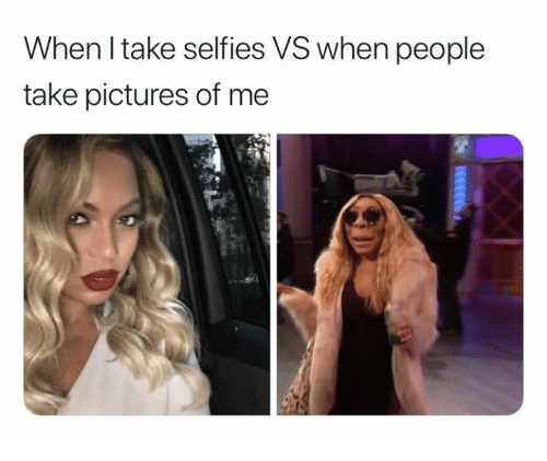 Pictures, People, and Pictures Of: When l take selfies VS when people  take pictures of me