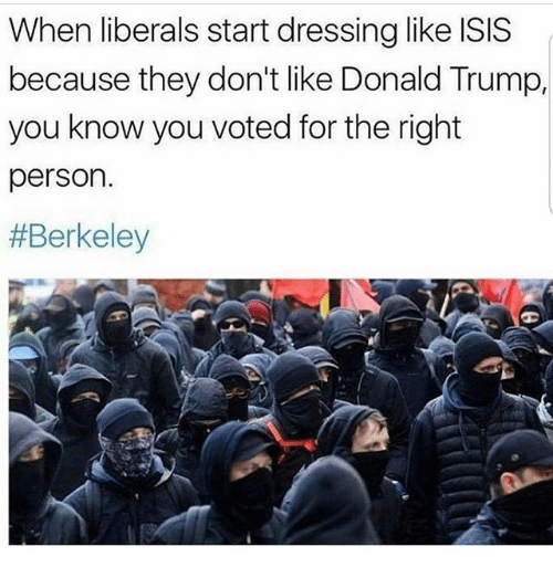 Berkeley: When liberals start dressing like ISIS  because they don't like Donald Trump,  you know you voted for the right  person.