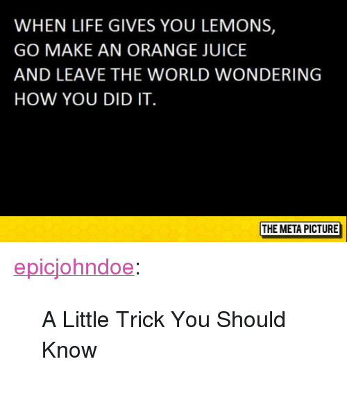 "Juice, Life, and Tumblr: WHEN LIFE GIVES YOU LEMONS,  GO MAKE AN ORANGE JUICE  AND LEAVE THE WORLD WONDERING  HOW YOU DID IT  THE META PICTURE <p><a href=""https://epicjohndoe.tumblr.com/post/173108093119/a-little-trick-you-should-know"" class=""tumblr_blog"">epicjohndoe</a>:</p>  <blockquote><p>A Little Trick You Should Know</p></blockquote>"