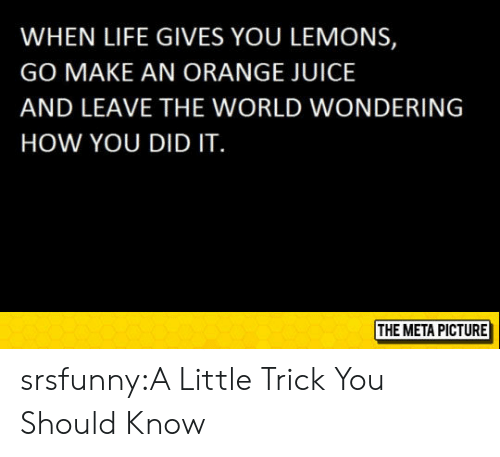 Life Gives You Lemons: WHEN LIFE GIVES YOU LEMONS,  GO MAKE AN ORANGE JUICE  AND LEAVE THE WORLD WONDERING  HOW YOU DID IT  THE META PICTURE srsfunny:A Little Trick You Should Know