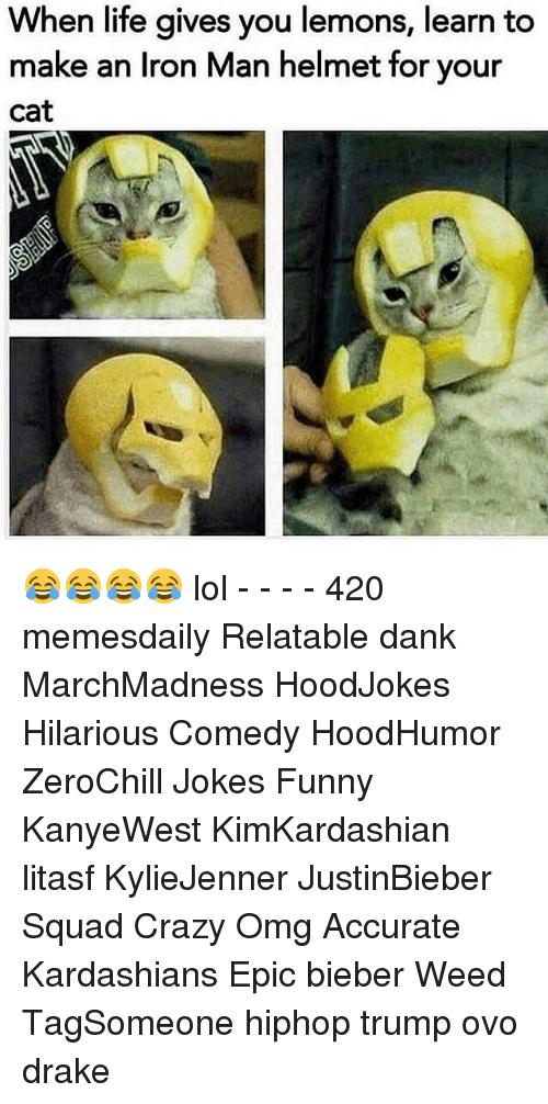 Drake, Iron Man, and Kardashians: When life gives you lemons, learn to  make an Iron Man helmet for your  Cat 😂😂😂😂 lol - - - - 420 memesdaily Relatable dank MarchMadness HoodJokes Hilarious Comedy HoodHumor ZeroChill Jokes Funny KanyeWest KimKardashian litasf KylieJenner JustinBieber Squad Crazy Omg Accurate Kardashians Epic bieber Weed TagSomeone hiphop trump ovo drake