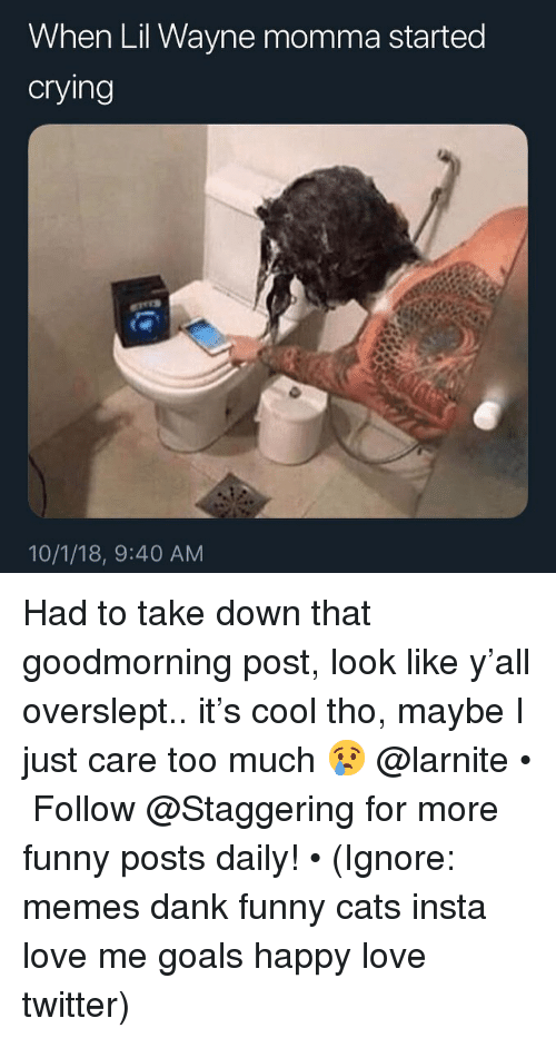 Cats, Dank, and Funny: When Lil Wayne momma started  cryling  10/1/18, 9:40 AM Had to take down that goodmorning post, look like y'all overslept.. it's cool tho, maybe I just care too much 😢 @larnite • ➫➫➫ Follow @Staggering for more funny posts daily! • (Ignore: memes dank funny cats insta love me goals happy love twitter)