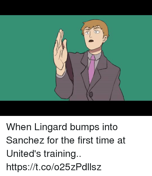 Lingard: When Lingard bumps into Sanchez for the first time at United's training.. https://t.co/o25zPdllsz