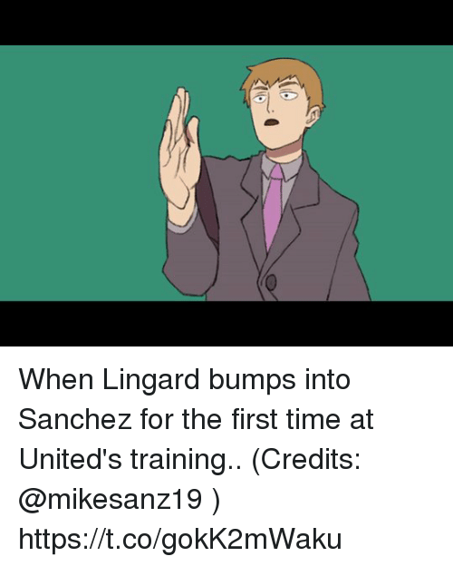 Memes, Time, and 🤖: When Lingard bumps into Sanchez for the first time at United's training.. (Credits: @mikesanz19 )  https://t.co/gokK2mWaku