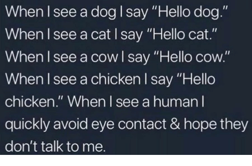 "Hello, Chicken, and Hope: When lsee a dog I say ""Hello dog.""  When l see a cat I say ""Hello cat.""  When I see a cow I say ""Hello cow.""  When I see a chicken I say ""Hello  chicken."" When l see a human l  quickly avoid eye contact & hope they  don't talk to me."