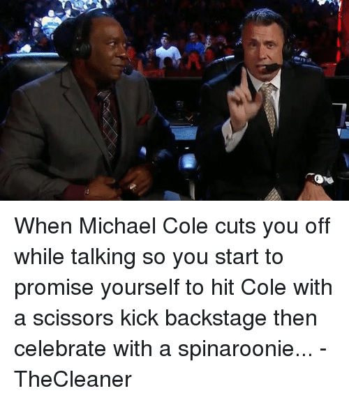 michael cole: When Michael Cole cuts you off while talking so you start to promise yourself to hit Cole with a scissors kick backstage then celebrate with a spinaroonie...  -TheCleaner