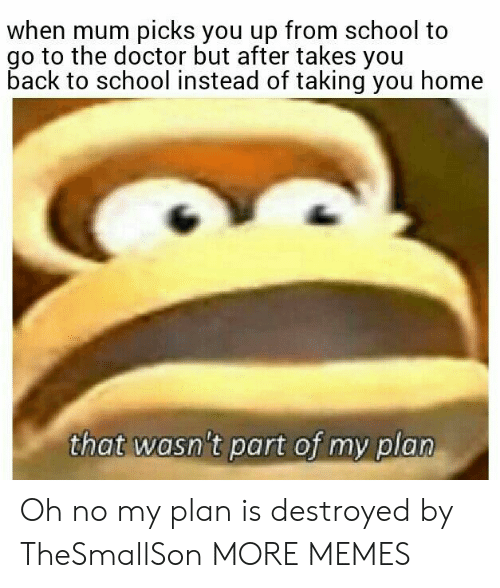Go To The Doctor: when mum picks you up from school to  go to the doctor but after takes you  back to school instead of taking you home  that wasn't part of my plan Oh no my plan is destroyed by TheSmallSon MORE MEMES