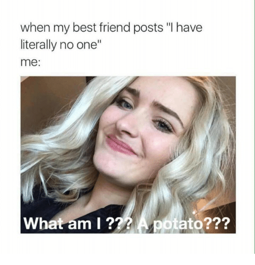 """Best Friend, Memes, and Best: when my best friend posts """"I have  literally no one""""  me:  What am l ??? A potato???"""